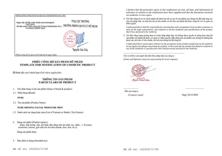 giấy chứng nhận xịt khoáng tươi pure myphamhera.com