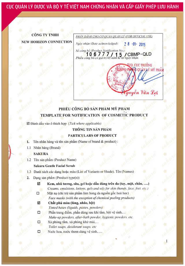 giấy chứng nhận kem tẩy tế bào da chết sakura myphamhera.com