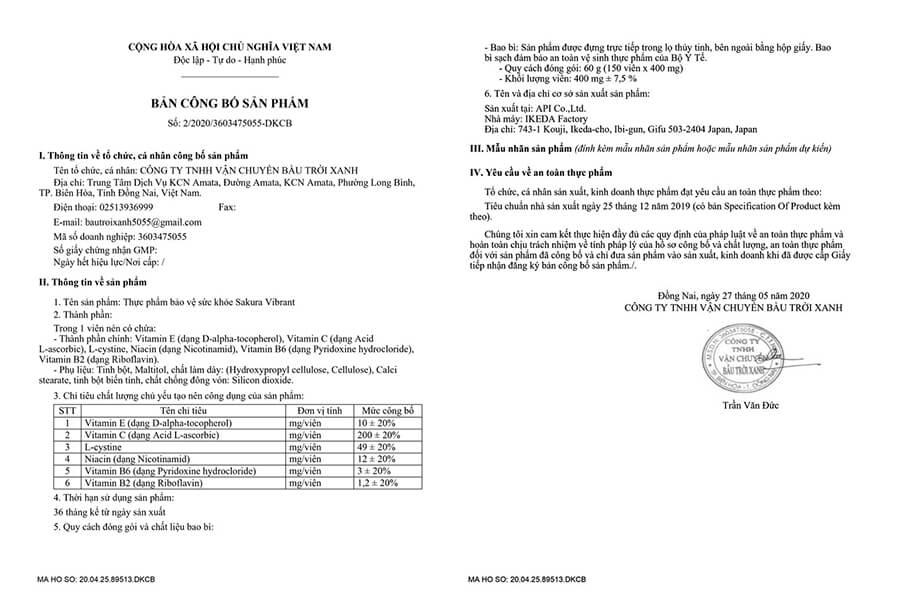 giấy chứng nhận viên uống trắng da ngăn ngừa sạm nám sakura myphamhera.com