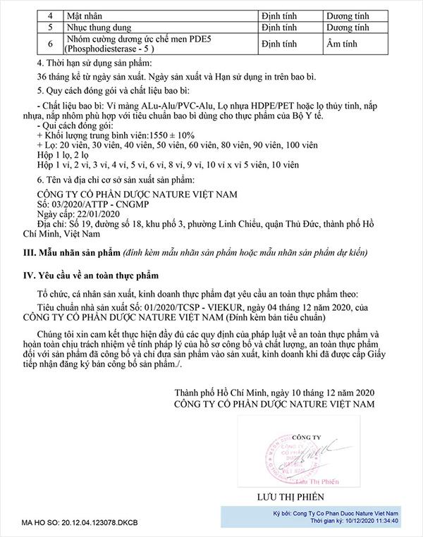 giấy chứng nhận viên uống viekura cửu dược nhục thung dung myphamhera.com