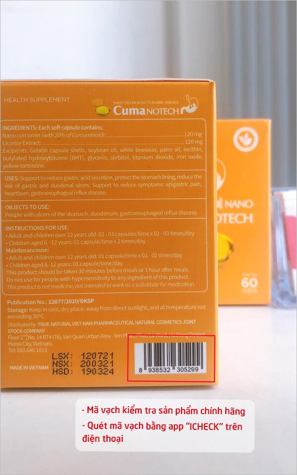 cách kiểm tra viên tinh nghệ nano cuma notech chính hãng myphamhera.com