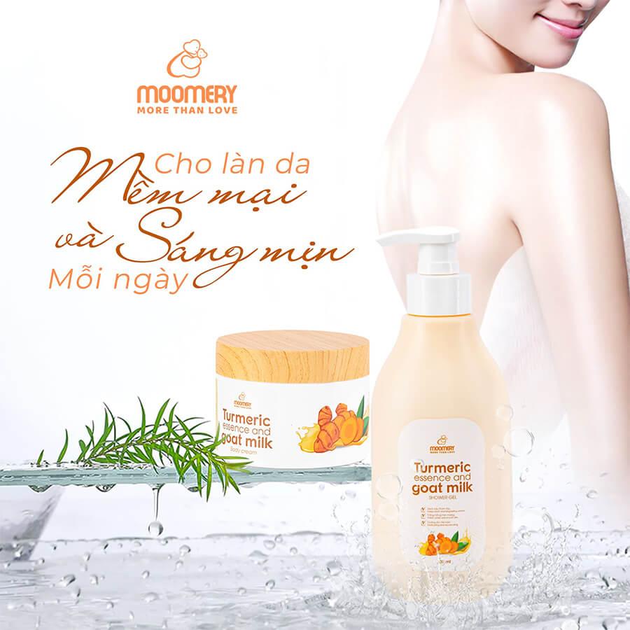 combo sữa tắm kem body tinh nghệ cốt đặc sữa dê myphamhera.com