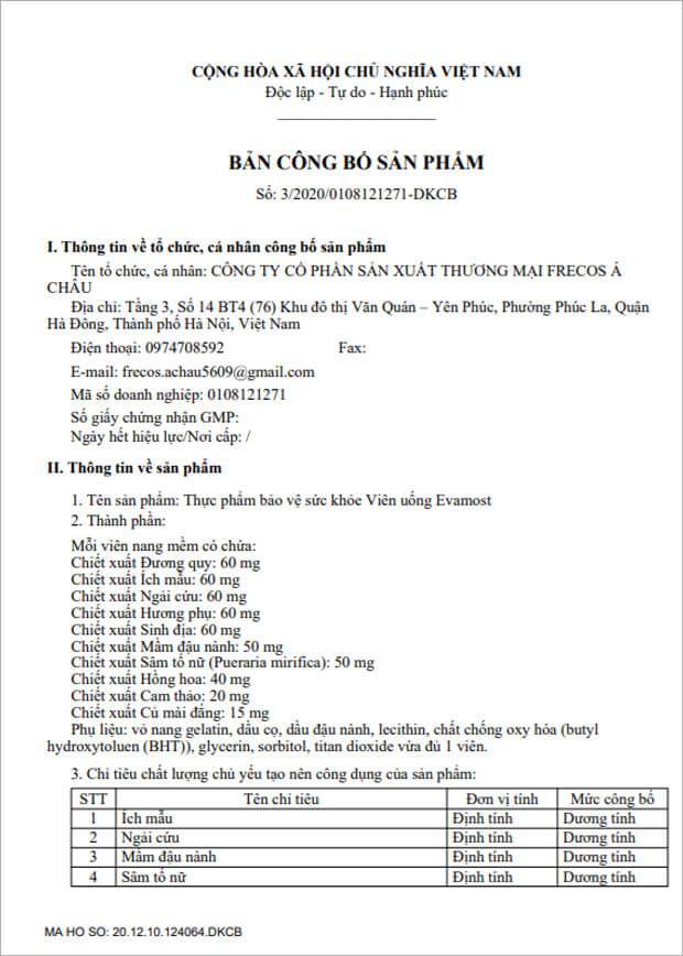 giấy chứng nhận công bố sản phẩm viên uống hồi xuân evamost myphamhera.com