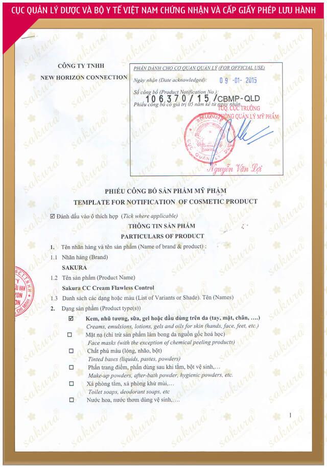 giấy chứng nhận kem trang điểm chống nắng sakura cc cream myphamhera.com