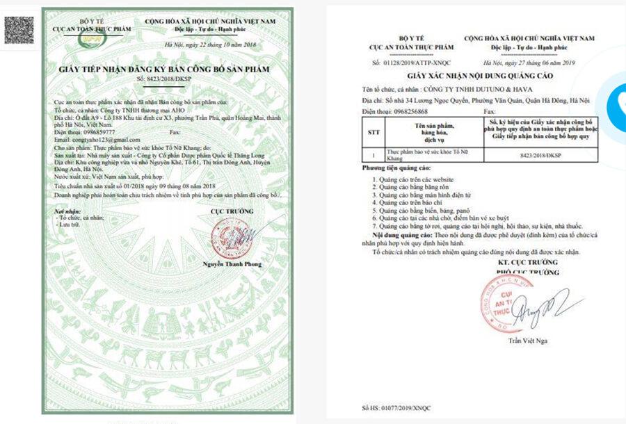 giấy chứng nhận viên uống tố nữ khang myphamhera.com