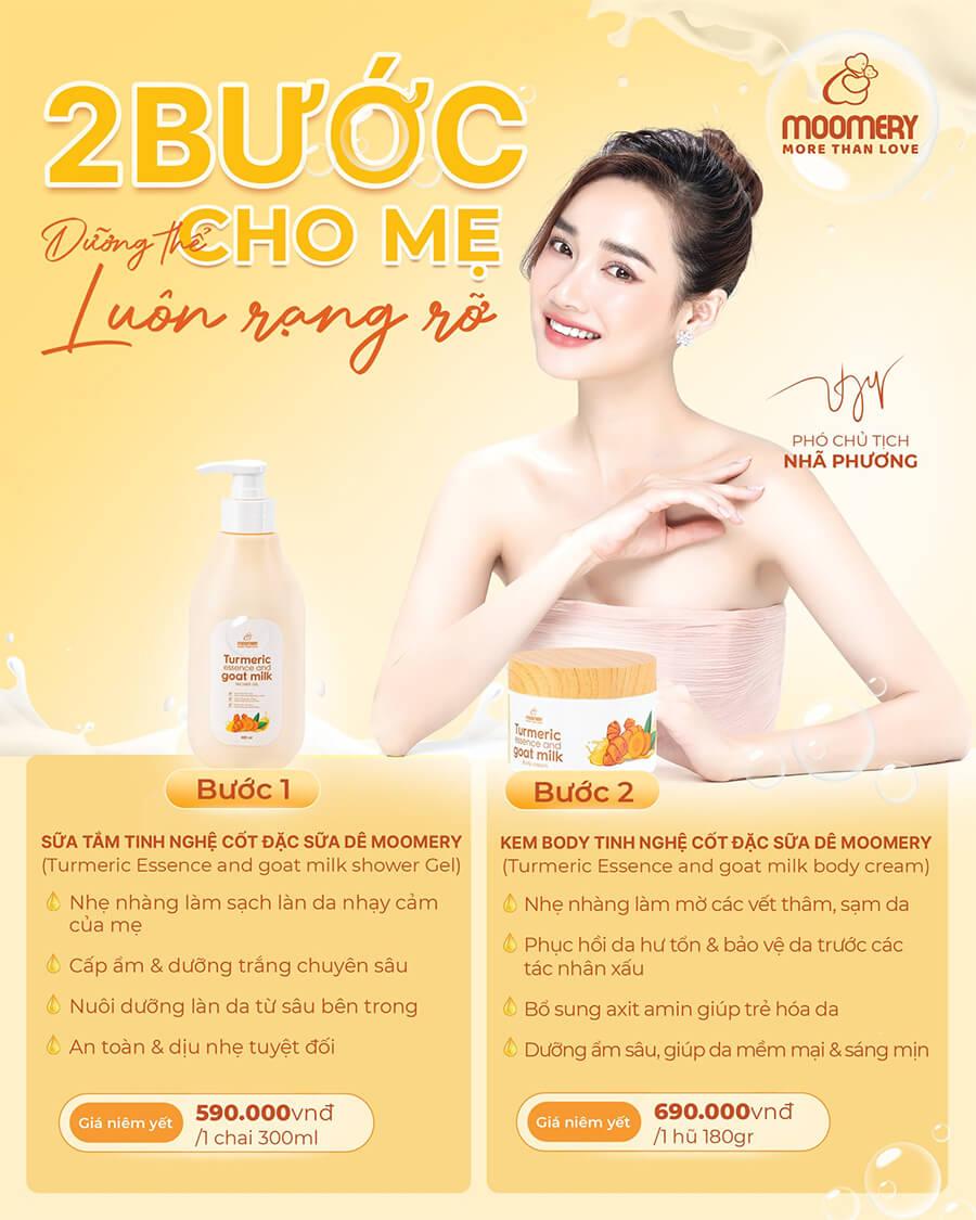 bộ đôi sữa tắm kem body tinh nghệ cốt đặc sữa dê moomery myphamhera.com