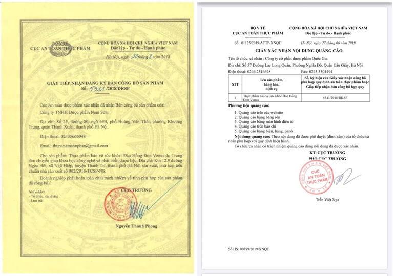 giấy chứng nhận đào hồng đơn myphamhera.com