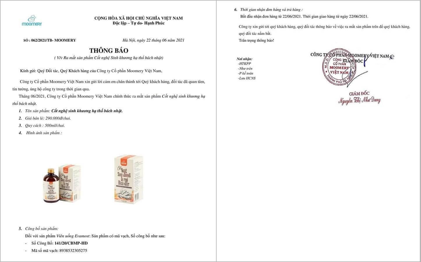 giấy chứng nhận công bố sản phẩm cốt nghệ sinh khương hạ thổ bách nhật myphamhera.com