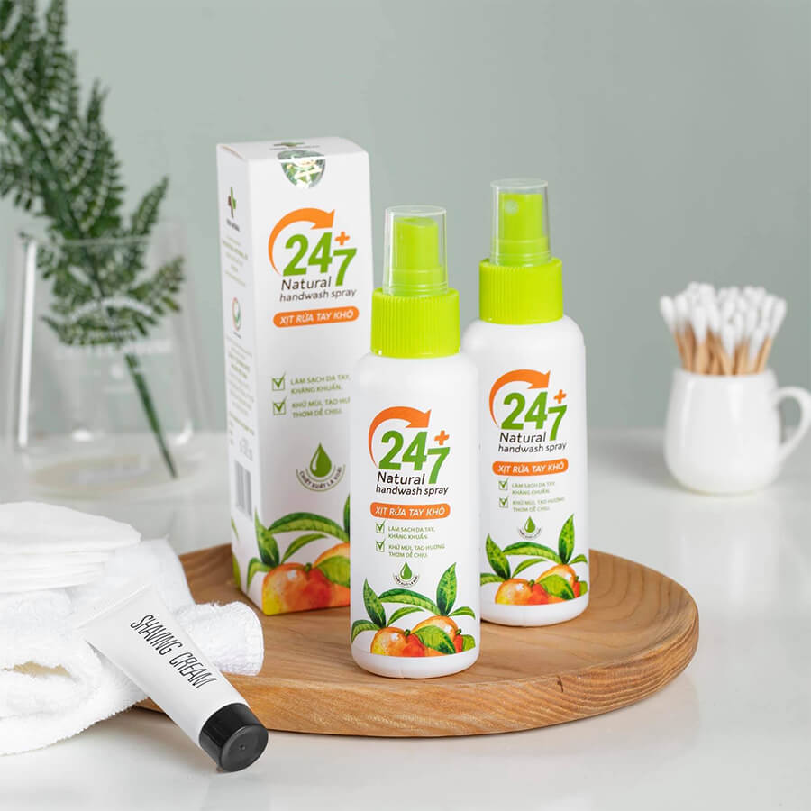 Xịt rửa tay khô lá xoài nano bạc 24/7-Myphamhera.com