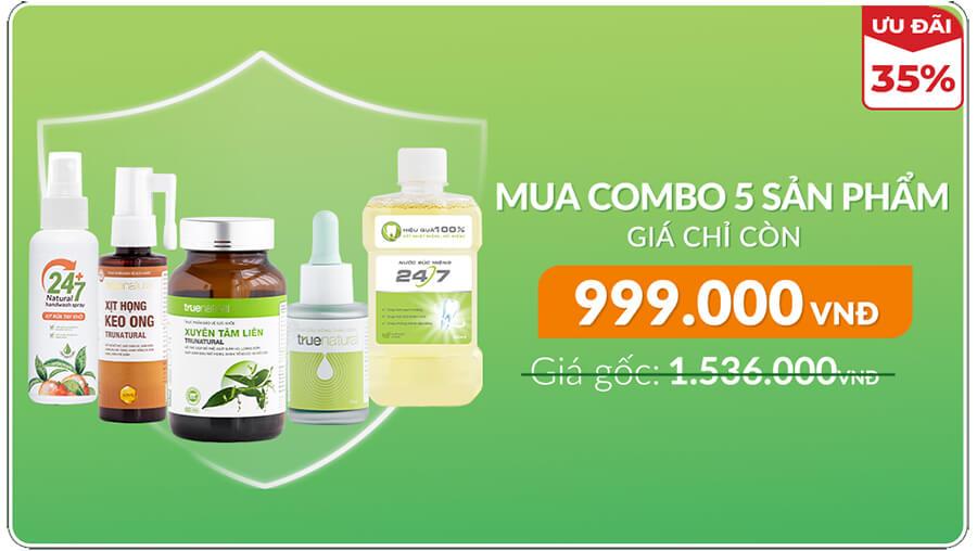bộ 5 sản phẩm chống dịch true natural myphamhera.com