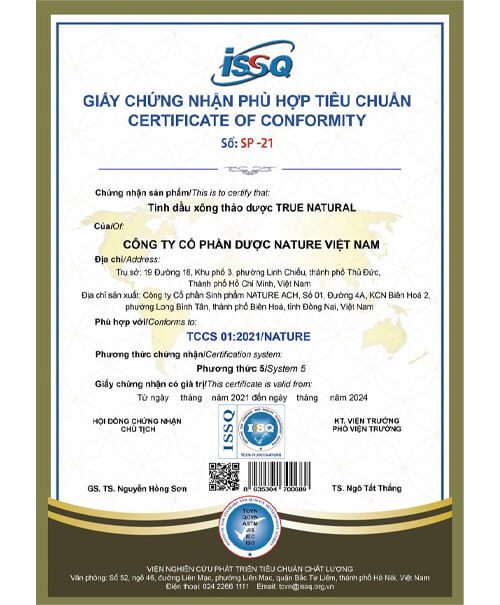 giấy chứng nhận tinh dầu xông thảo dược true natural myphamhera.com