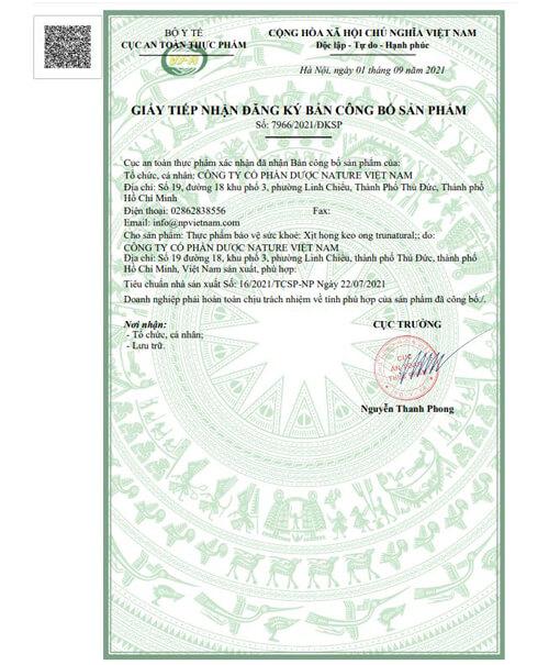 giấy chứng nhận xịt họng keo ong true natural myphamhera.com