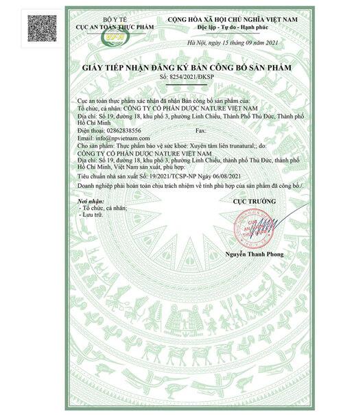 giấy chứng nhận xuyên tâm liên true natural myphamhera.com