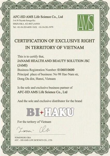 giấy chứng nhận viên uống bihaku myphamhera.com